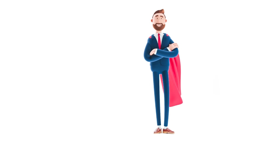 Billy cartoon businessman character  clothed like a superhero on white background. 3d render illustration. Looped video.    Shutterstock HD Video #1034858189