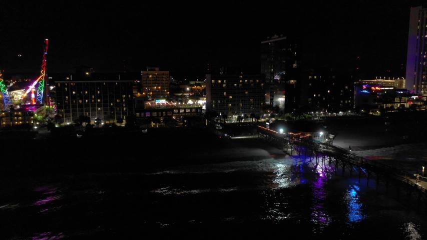 Aerial footage Pier 14 Myrtle Beach SC USA