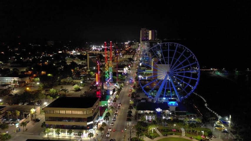 MYRTLE BEACH, SC, USA - AUGUST 5, 2019: Night footage Myrtle Beach South Carolina USA