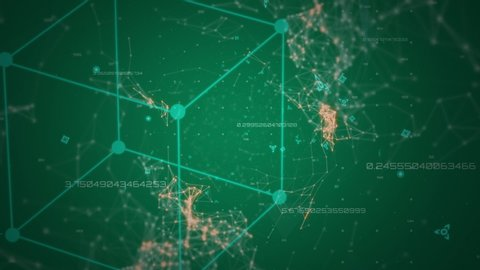 Animation of zooming out and in while a 3d cube diagram of light green lines and dots, interconnecting points and lines in green and orange and changing numeric data move over a dark green background