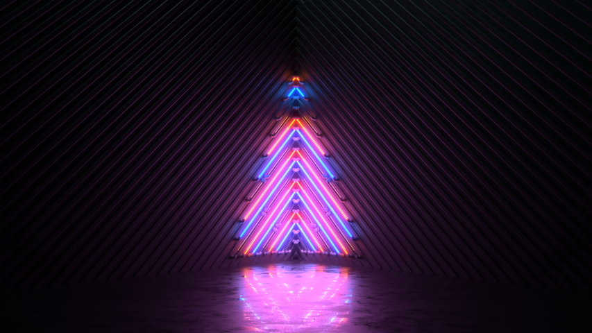 Blinking neon symbol of christmas tree. Winter holidays symbol. Seamless loop 3D render animation | Shutterstock HD Video #1035112109