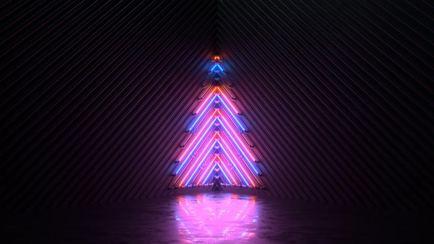 Blinking neon symbol of christmas tree. Winter holidays symbol. Seamless loop 3D render animation