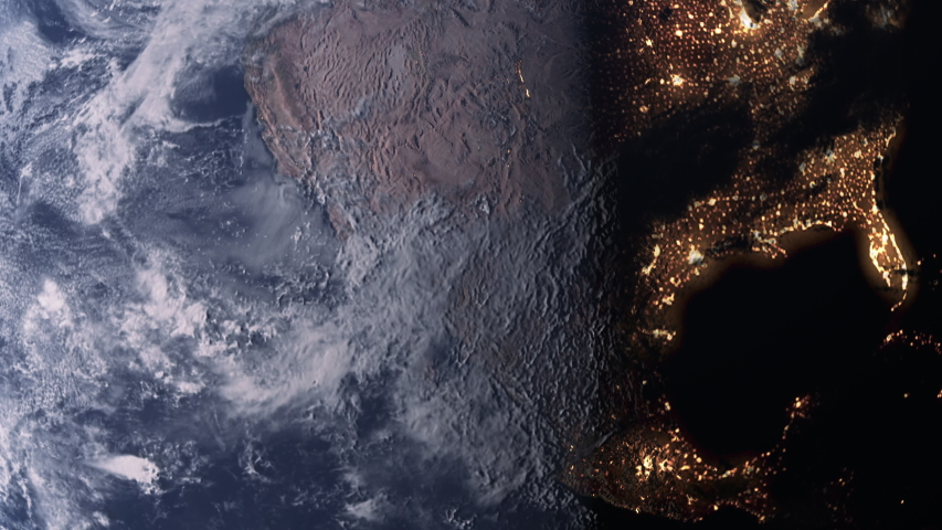 Planet Earth slowly rotating revealing day to night concept with bright city lights over the west coast of north America | Shutterstock HD Video #1035202289