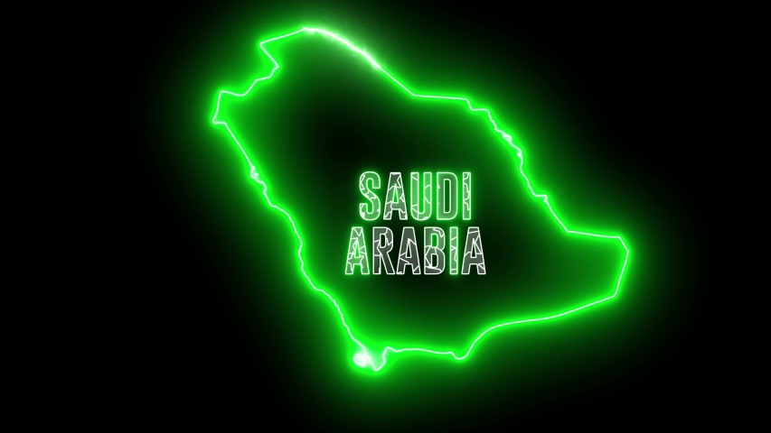 Abstract creative neon map of Saudi Arabia. Outline of Arabic country with glowing shiny led lamp.  | Shutterstock HD Video #1035298919