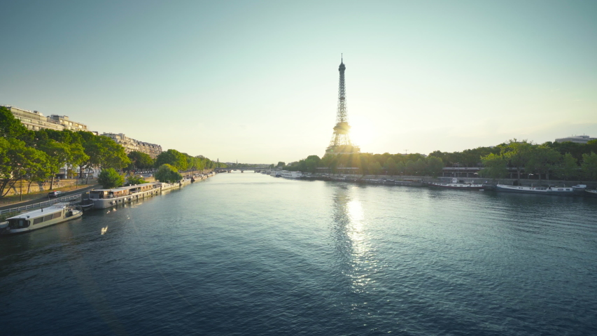 Eiffel tower and sunny morning, Paris, France | Shutterstock HD Video #1035320189
