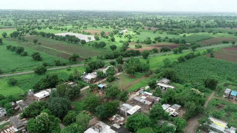 Aerial view of Indian agricultural fields and village