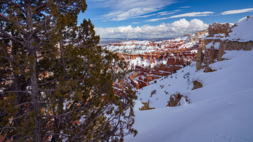 4K Time lapse of Bryce Canyon National Park in Winter, Utah, USA | Shutterstock HD Video #1035521639