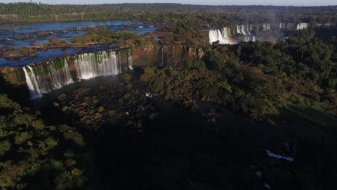 Puerto Iguazú, Misiones / Argentina - 08/04/2019: Aerial view of waterfalls from Iguazu Falls, Iguazu National Park, one of the seven natural wonders of the world