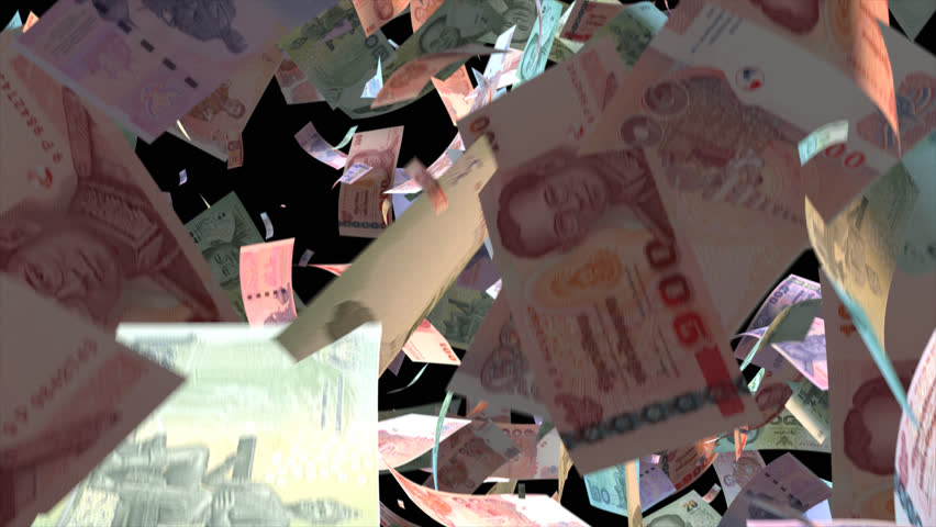 Falling Thailand money banknotes  Video Effect simulates Falling Mixed Thailand money banknotes with alpha channel (transparent background) in 4k resolution  | Shutterstock HD Video #10358849