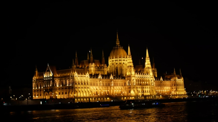 Night telephoto shot of the Hungarian Parliament Building, an iconic landmark of Hungary and a popular destination in Budapest shooting in 4k format | Shutterstock HD Video #1035910109