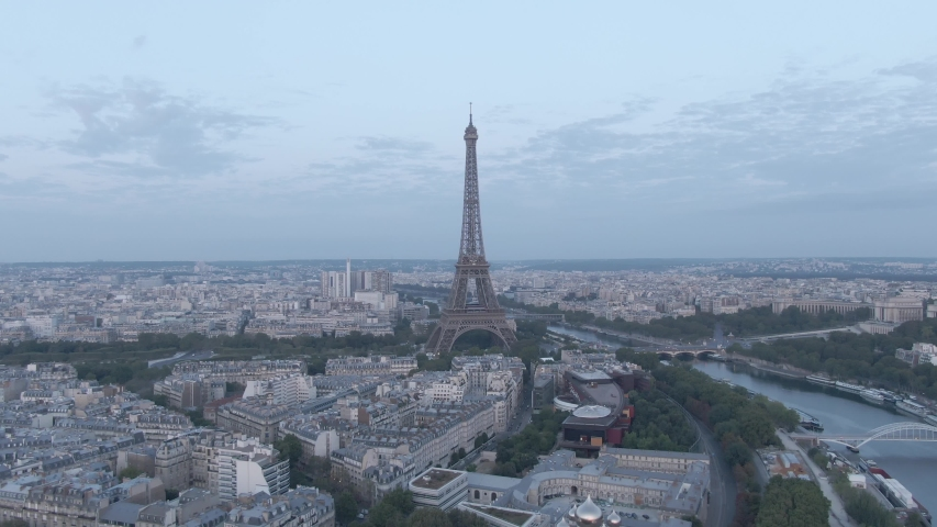 Aerial drone footage of the famous Eiffel Tower in Paris, France in the morning | Shutterstock HD Video #1036003559