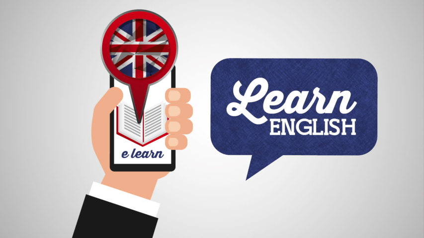 Hand using smartphone with learn english ,hd video animation | Shutterstock HD Video #1036035029