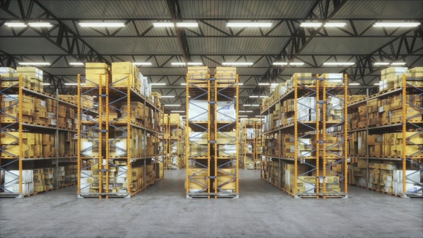 Products at the warehouse. Horizontal camera move between the rows shelves with cardboard boxes. Industrial interior storage room. Logistics center interior full of racks with with large number packs. | Shutterstock HD Video #1036278389