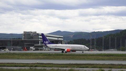 Trondheim / Norway - 06 03 2019: SAS airplanes on Trondheim airport Norway