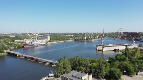 Aerial view of Dock for Repair of Ships and Boats in Nikolaev.