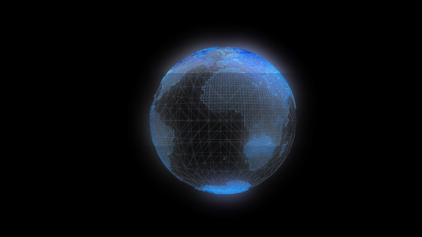 Digital rotating globe hologram - abstract illustration of a scientific technology data network surrounding planet earth. | Shutterstock HD Video #1036349009