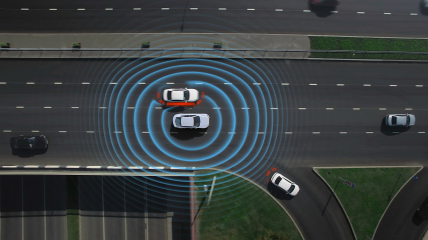 Driver activate smart car mode auto pilot, artificial intelligence, calculate digital engine cpu processor, work radar traffic sensors, digital vision on the road avoid obstacles and car detection | Shutterstock HD Video #1036518239