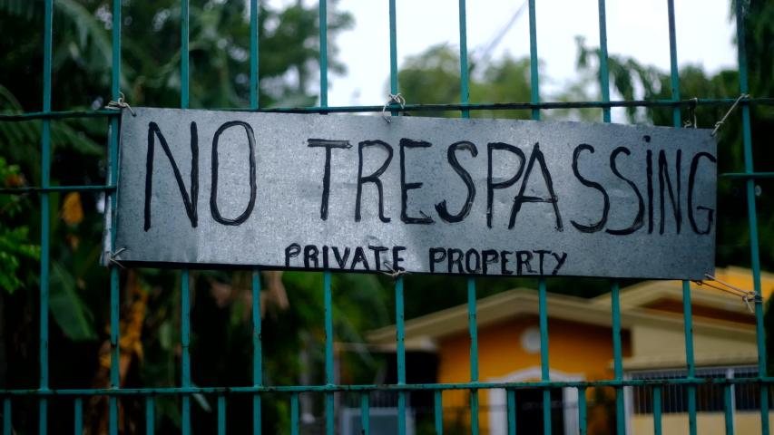 No trespassing sign at a subdivision