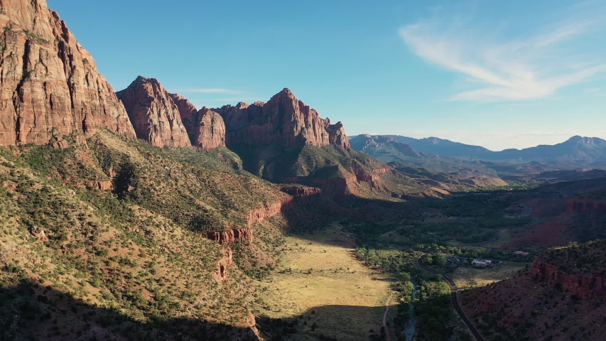 Drone panoramic view of a Valley in Zion National Park   Shutterstock HD Video #1036601969