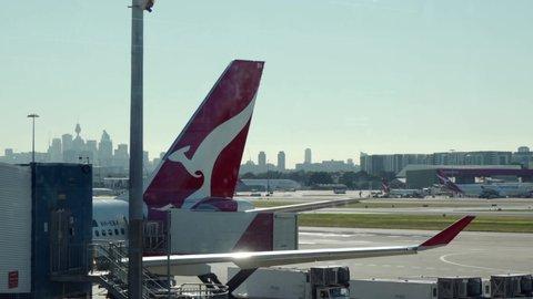 Sydney , NSW / Australia - 06 07 2019: Qantas Jet parked at Sydney Airport