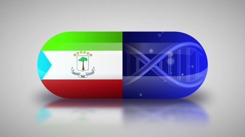 Animation of the national pharmaceuticals of Equatorial Guinea. Drug production in Equatorial Guinea. National flag of Equatorial Guinea on capsule with gene animation