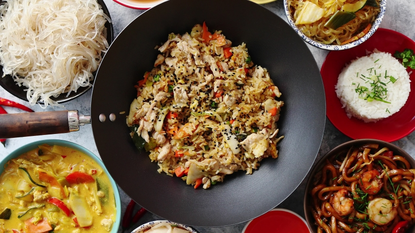 Chinese food set asian style food concept   Shutterstock HD Video #1036720709