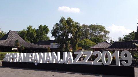 Jogjakarta, Indonesia: July, 1st 2019: Established Shot of Prambanan Jazz 2019 Big Signage at Candi Prambanan (Prambanan Temple), Hinduism Temple in Java