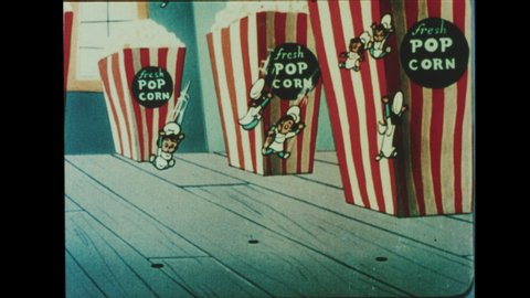 1960s Drive-in Movie Theater Intermission Announcement. Animated Cartoon for the Snack Bar. Elves are Busy at the Candy Factory making Soda Pop, Popcorn and Fudgesicles.