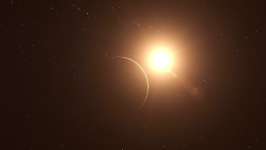 Realistic CGI Venus Planet Fly-By. #1036875719
