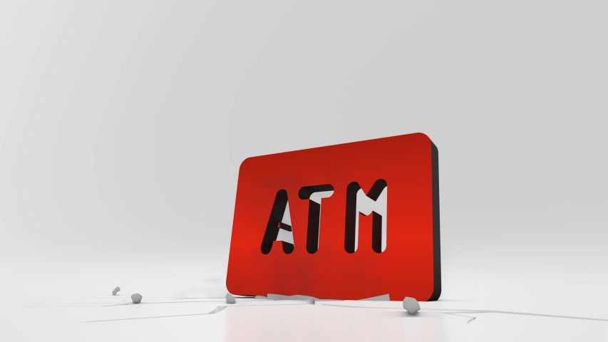 3d rendering heavy impact red symbol of atm sign in empty grey space 4k animation | Shutterstock HD Video #1036893269