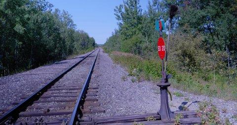 Amos, Québec/Canada 08-24-2019: A Railway in a forest in Abitibi.