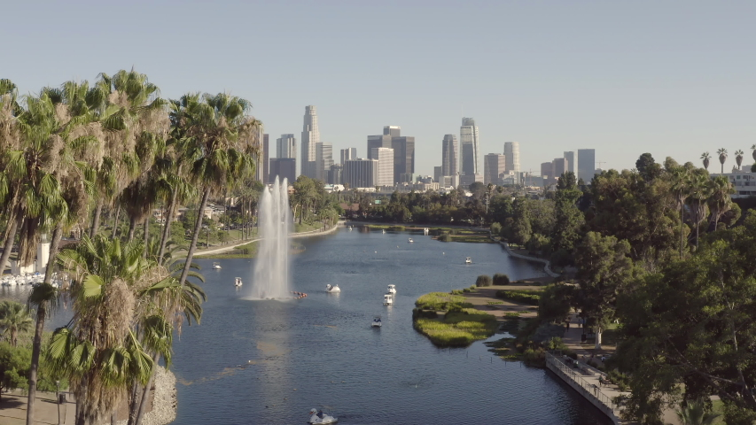 Aerial view of Echo Park in Los Angeles California   Shutterstock HD Video #1036914809