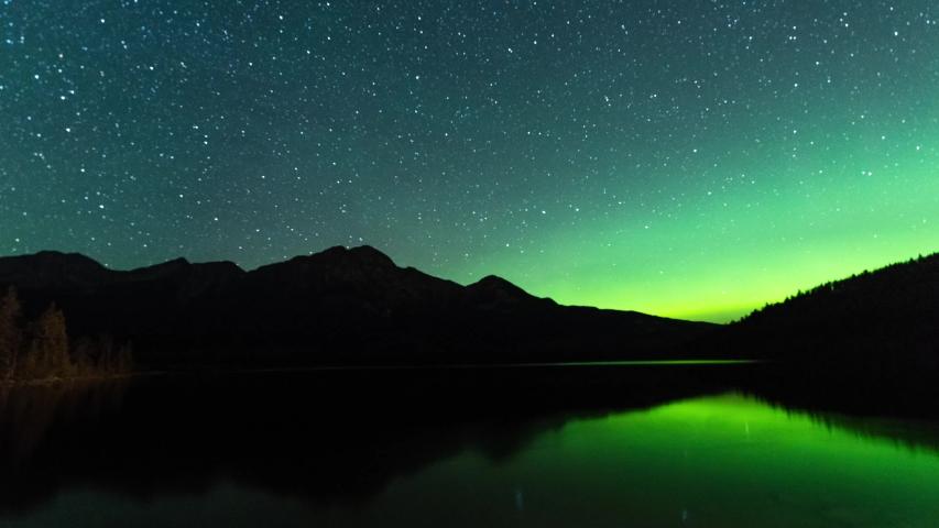 Jasper National Park Aurora Borealis, Northern Lights Timelapse at Pyramid Lake | Shutterstock HD Video #1037089259