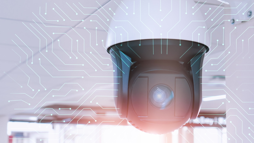 Professional security CCTV camera with digital signals in office room.Modern technology system for protection from theft. Electronic tools that maintain safety. Digital eye. | Shutterstock HD Video #1037148179