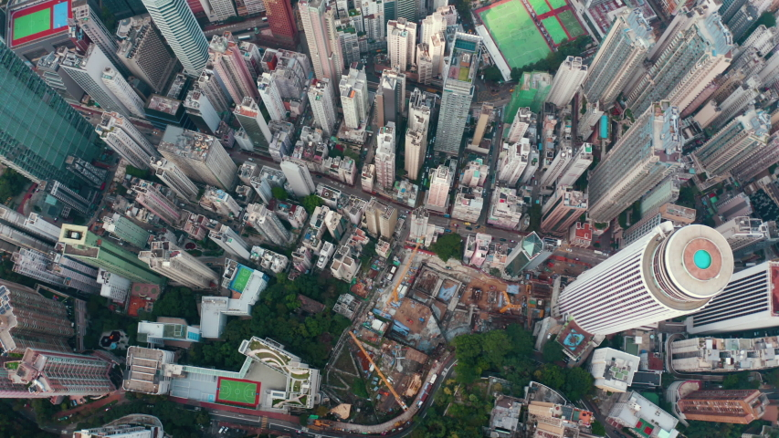 Aerial top down view of Hong Kong skyscrapers, big city from above | Shutterstock HD Video #1037166779