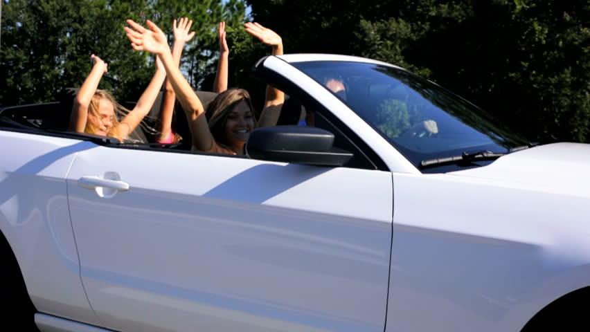 Happy Caucasian Family Pride Achievement Cabriolet Motor Car Fun Vacation Travel #10371779