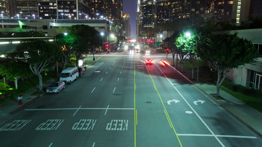 Time Lapse of traffic running through downtown Los Angeles California | Shutterstock HD Video #1037184299