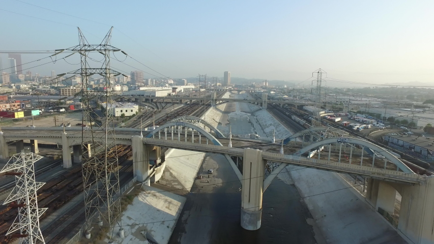 Aerial Flyover of Los Angeles Train Yard and Factories | Shutterstock HD Video #1037228009