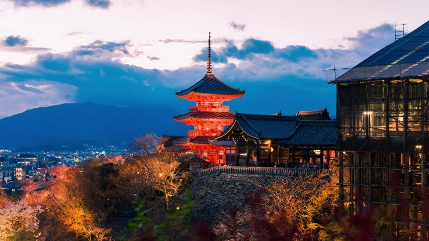 Time lapse Kiyomizu-dera Temple autumn season in Kyoto, Japan at night | Shutterstock HD Video #1037297429