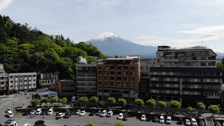 Kawaguchiko Japan Mount Fuji drone view | Shutterstock HD Video #1037333789