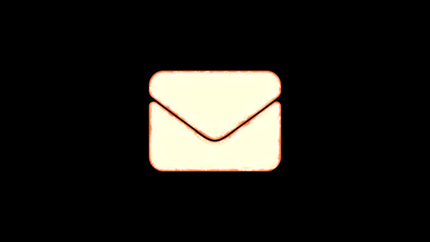 Symbol envelope burns out of transparency, then burns again. Alpha channel Premultiplied - Matted with color black | Shutterstock HD Video #1037411249