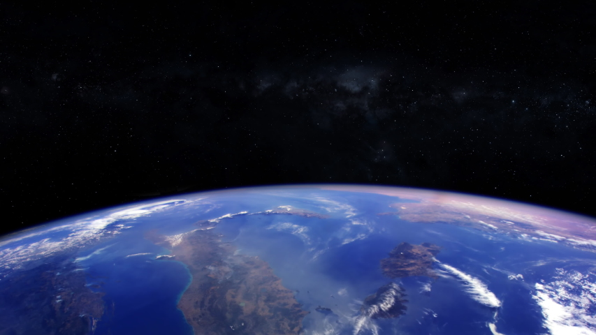 Planet earth view from space animation with milky way stars in background. Contains public domain image by Nasa   Shutterstock HD Video #1037475059