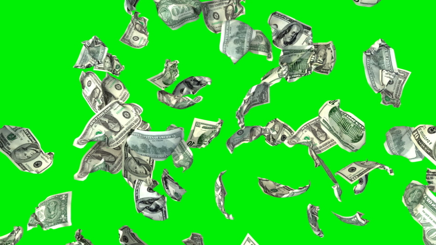 US Dollar currency flying in slow motion, upper view, against Green Screen   Shutterstock HD Video #1037503469