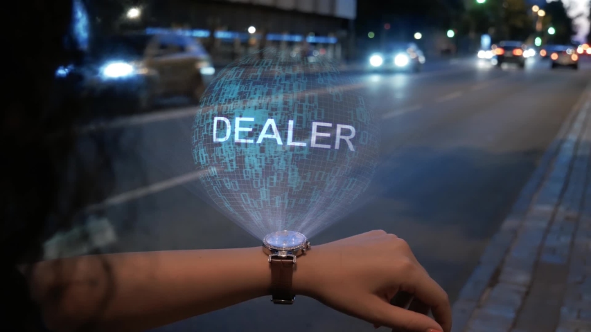 Unrecognizable curly woman with a hologram on smart watch with text Dealer. Female hands with future holographic technology on the background of the night road | Shutterstock HD Video #1037506289