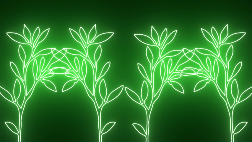 Abstract creative tropical neon flowers background. Shiny green leafs design with jungle and technology concept.  | Shutterstock HD Video #1037659499