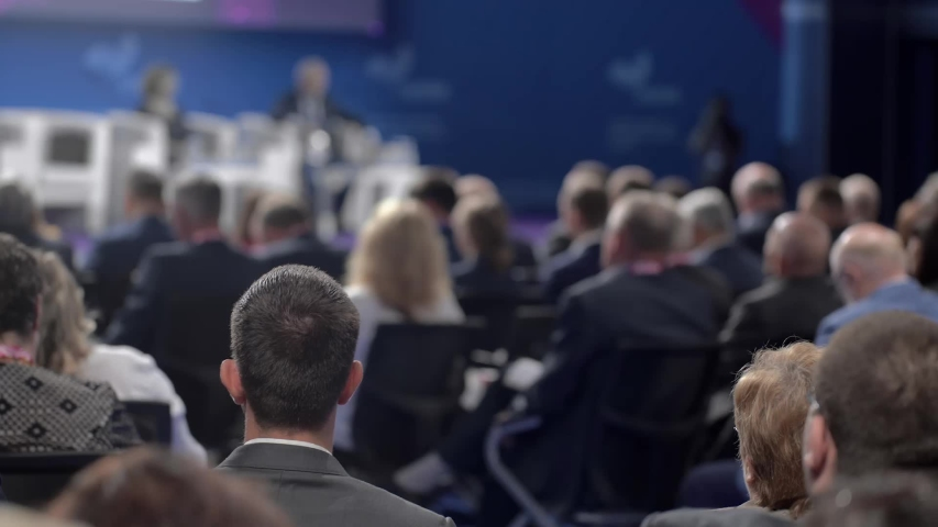 Crowd of Corporate Business People at Professional Public Conference Hall | Shutterstock HD Video #1037774969