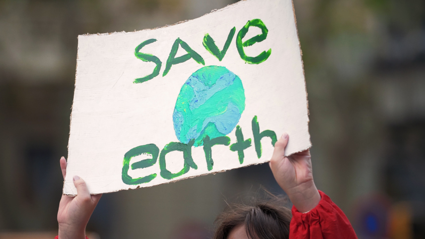 Save Earth Poster. Climate Strike. Demonstration | Shutterstock HD Video #1038037019