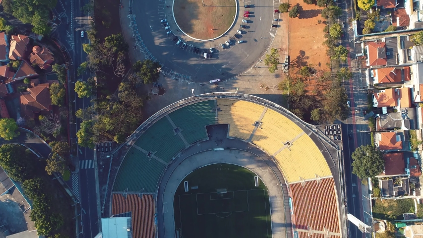 Aerial view of Pacaembu Stadium and Charles Miller Square in the beautiful day. São Paulo, Brazil. Great landscape. Famous places of the city. | Shutterstock HD Video #1038056789