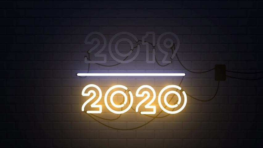 2019-2020 change Happy New Year 2020 neon sign background new year resolution concept | Shutterstock HD Video #1038638909