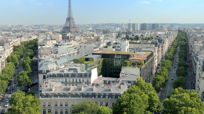 Paris skyline with the Eiffel tower on a sunny day | Shutterstock HD Video #1038685559